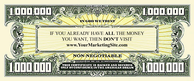 customized million dollar bill business cards