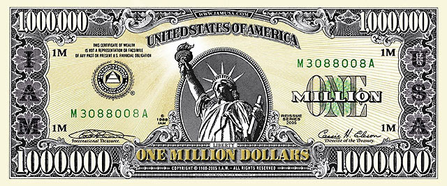 Front side of an authentic million dollar bill