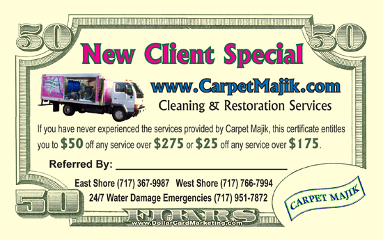 carpet cleaning referral business cards