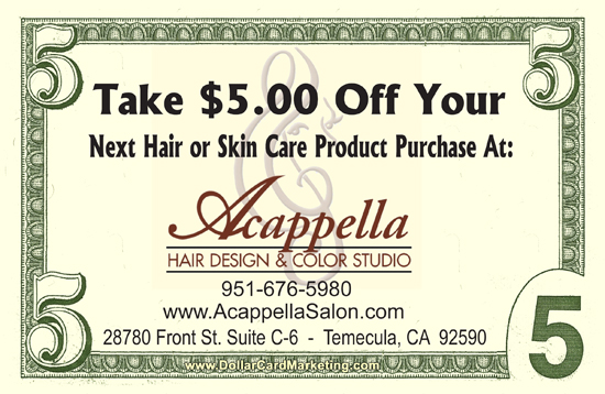 Beauty salon business cards dollar card marketing for Acappella salon temecula